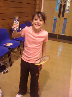 Alexis Smith winner of the girls doubles at Dronfield