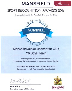 Mansfield Sport Recognition Awards 2016