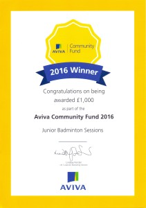 Aviva Community Fund 2016 Winner Certificate