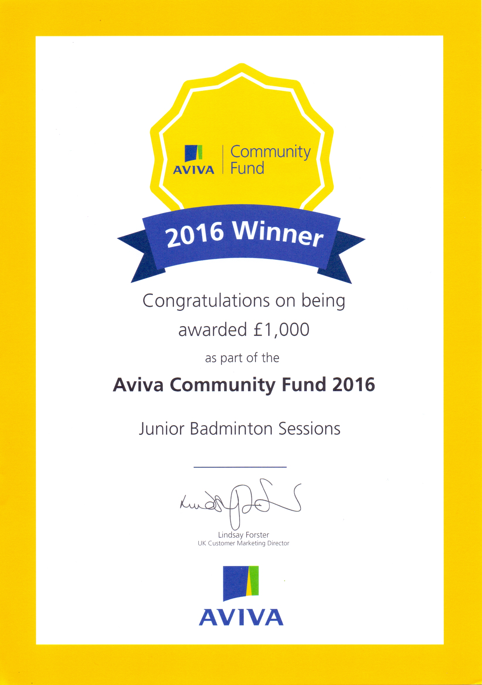 Certificate winner formal reports samples aviva community fund 2016 winners certificate mansfield junior aviva community fund 2016 winner certificate aviva community yadclub Image collections